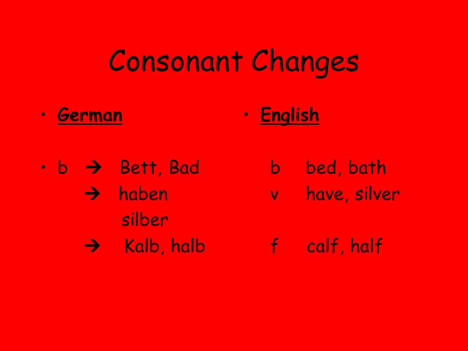Consonant Changes German b Bett, Bad haben silber Kalb, halb English b bed, bath v have, silver f calf, half