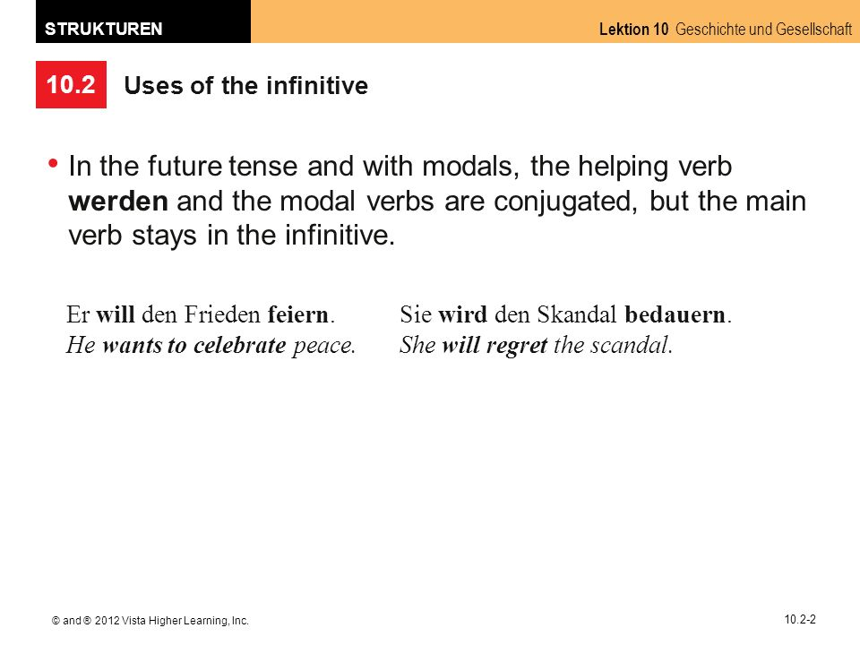 10.2 Lektion 10 Geschichte und Gesellschaft STRUKTUREN © and ® 2012 Vista Higher Learning, Inc. 10.2-2 Uses of the infinitive In the future tense and