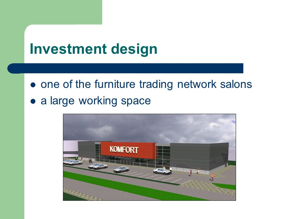 Investment design one of the furniture trading network salons a large working space