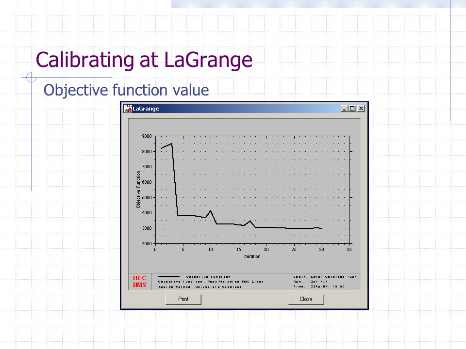 Calibrating at LaGrange Objective function value