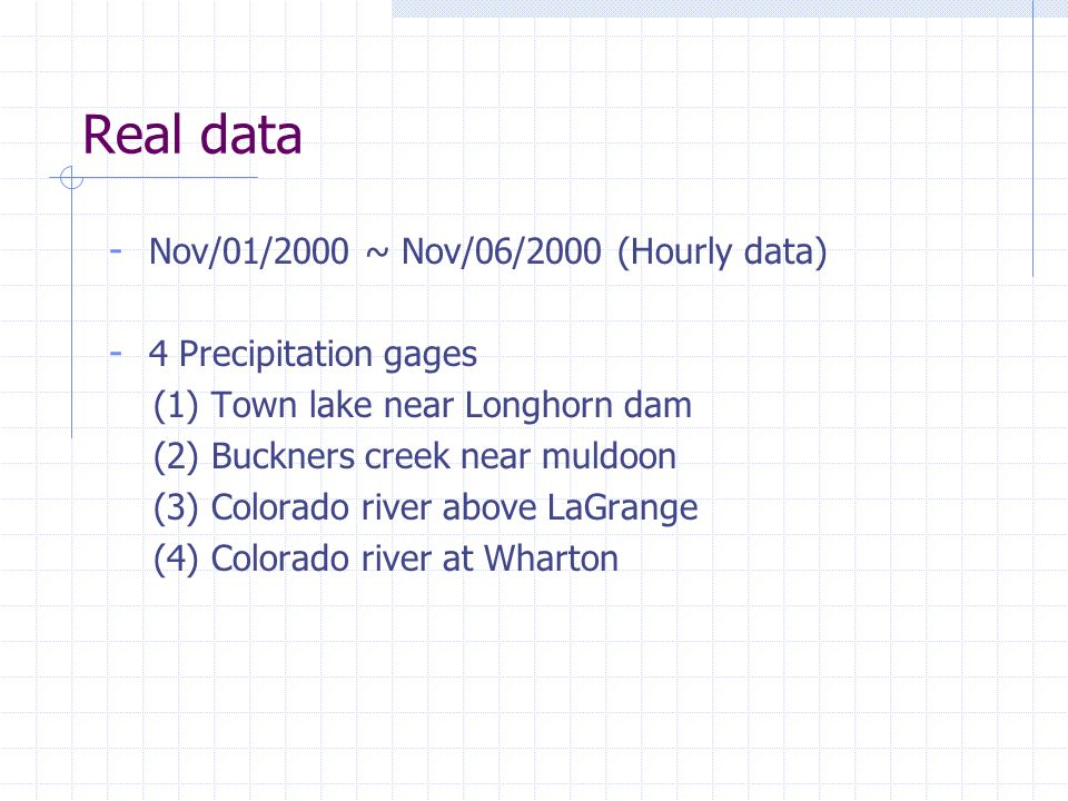 Real data - Nov/01/2000 ~ Nov/06/2000 (Hourly data) - 4 Precipitation gages (1) Town lake near Longhorn dam (2) Buckners creek near muldoon (3) Colora