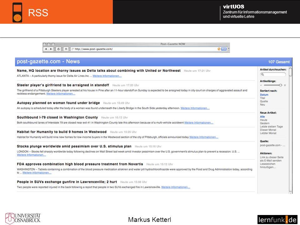 Markus Ketterl virtUOS Zentrum für Informationsmanagement und virtuelle Lehre RSS