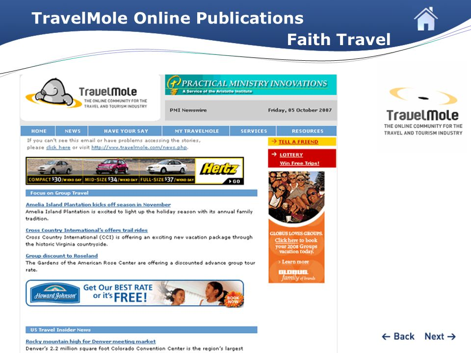 TravelMole Online Publications Faith Travel