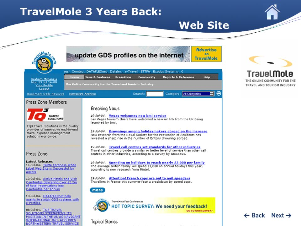 TravelMole 3 Years Back: Web Site