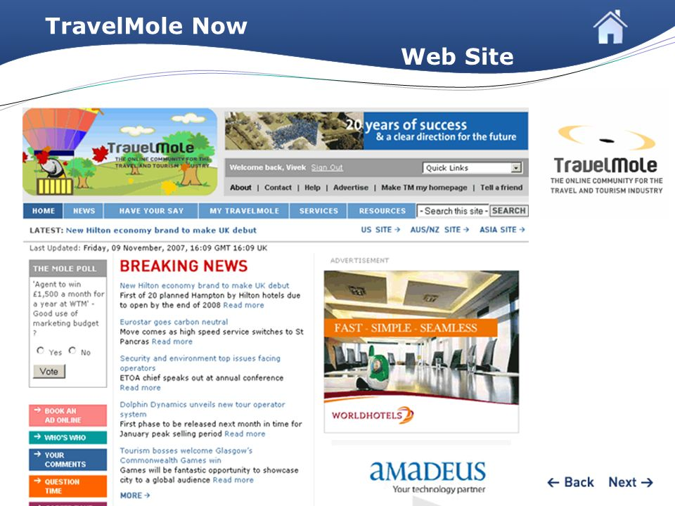 TravelMole Now Web Site