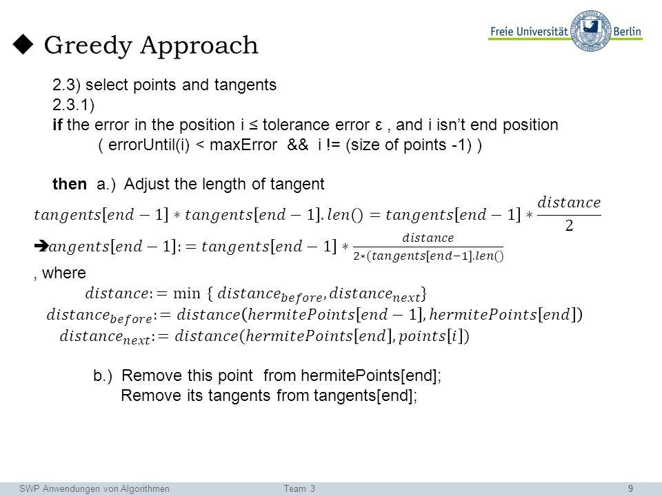 9 SWP Anwendungen von AlgorithmenTeam 3 Greedy Approach