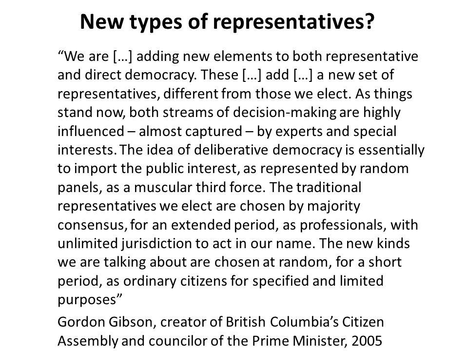 New types of representatives.