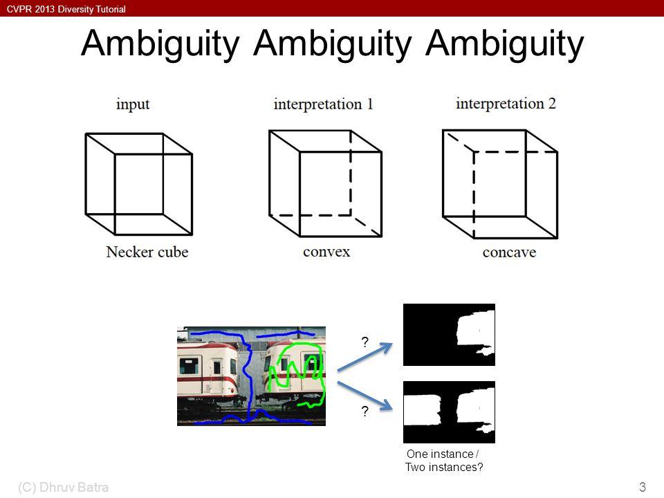 CVPR 2013 Diversity Tutorial Ambiguity Ambiguity Ambiguity (C) Dhruv Batra3 .