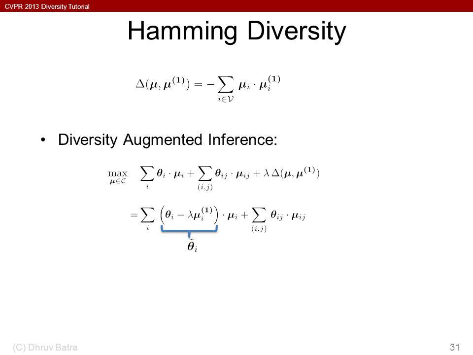 CVPR 2013 Diversity Tutorial Hamming Diversity Diversity Augmented Inference: (C) Dhruv Batra31