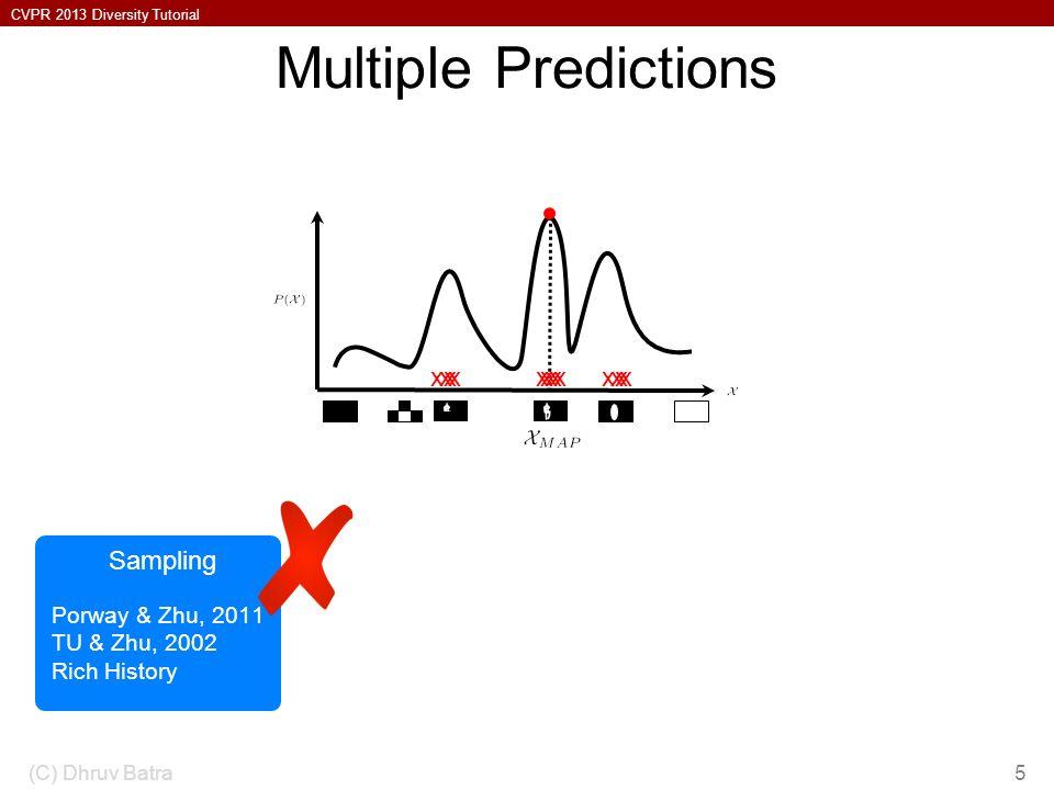 CVPR 2013 Diversity Tutorial Multiple Predictions (C) Dhruv Batra5 Porway & Zhu, 2011 TU & Zhu, 2002 Rich History Sampling xxxxxxxxxxxxx
