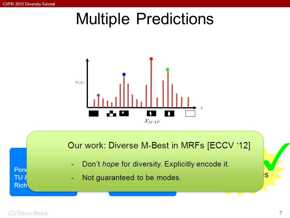 CVPR 2013 Diversity Tutorial Multiple Predictions (C) Dhruv Batra7 Flerova et al., 2011 Fromer et al., 2009 Yanover et al., 2003 M-Best MAP Ideally: M-Best Modes Porway & Zhu, 2011 TU & Zhu, 2002 Rich History Sampling Our work: Diverse M-Best in MRFs [ECCV 12] -Dont hope for diversity.