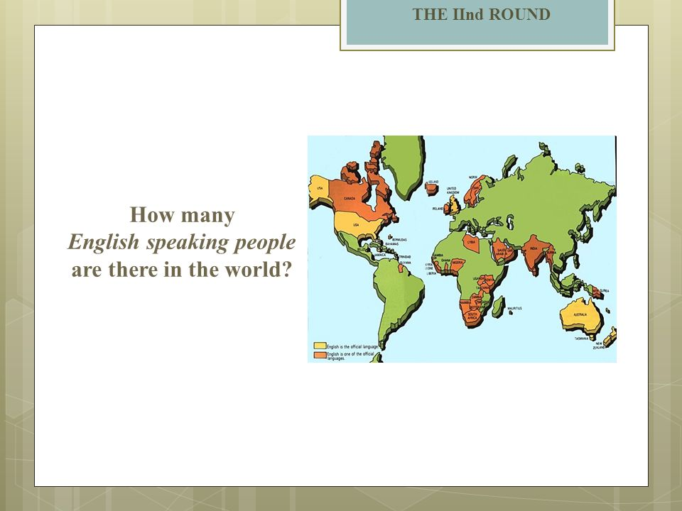 THE IInd ROUND How many English speaking people are there in the world?