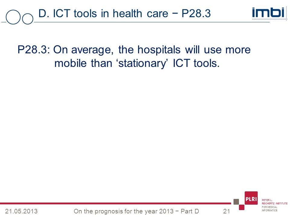 PETER L. REICHERTZ INSTITUTE FOR MEDICAL INFORMATICS D. ICT tools in health care P28.3 21.05.2013On the prognosis for the year 2013 Part D21 P28.3: On