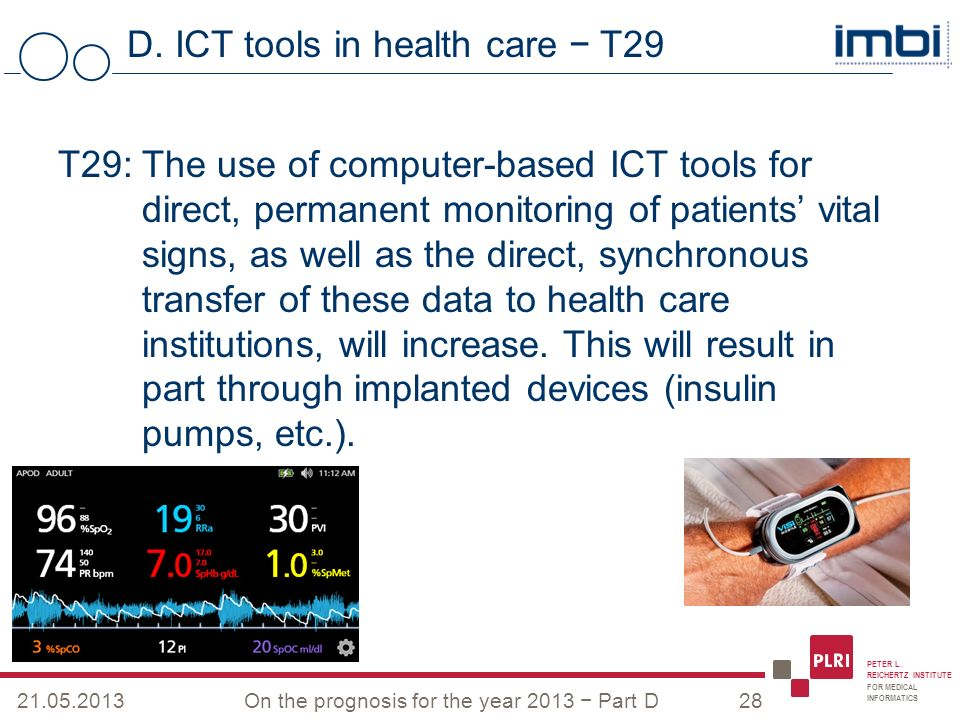 PETER L. REICHERTZ INSTITUTE FOR MEDICAL INFORMATICS D. ICT tools in health care T29 21.05.2013On the prognosis for the year 2013 Part D28 T29: The us