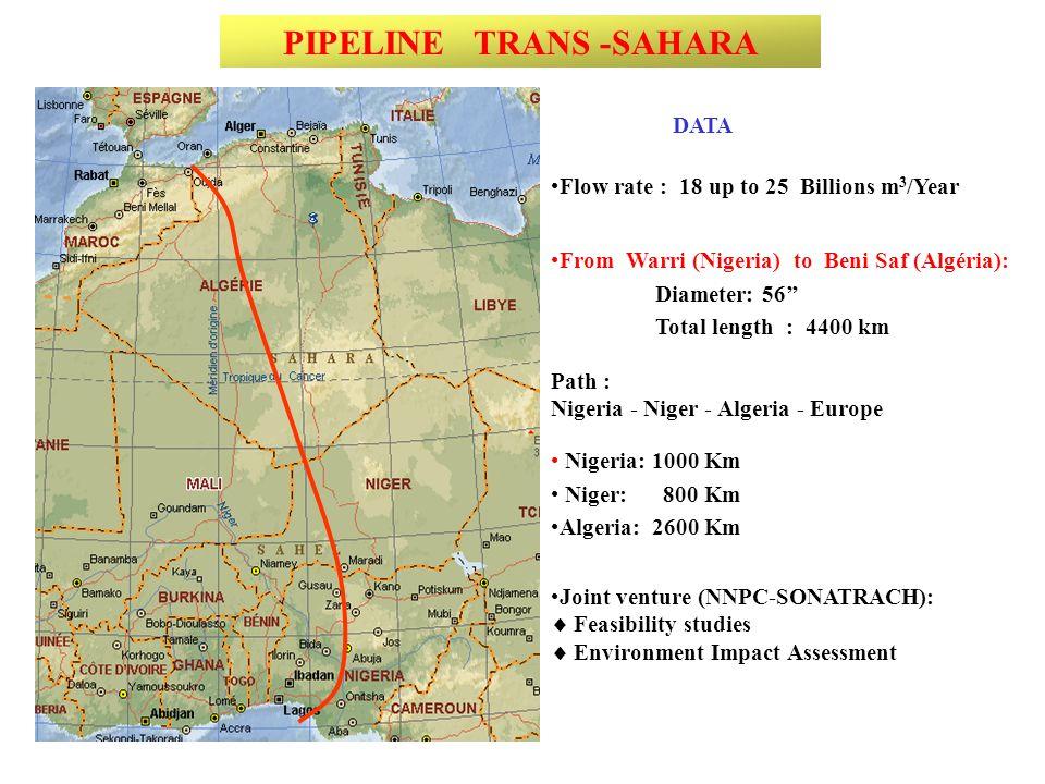 From Warri (Nigeria) to Beni Saf (Algéria): Diameter: 56 Total length : 4400 km Path : Nigeria - Niger - Algeria - Europe PIPELINE TRANS -SAHARA Flow