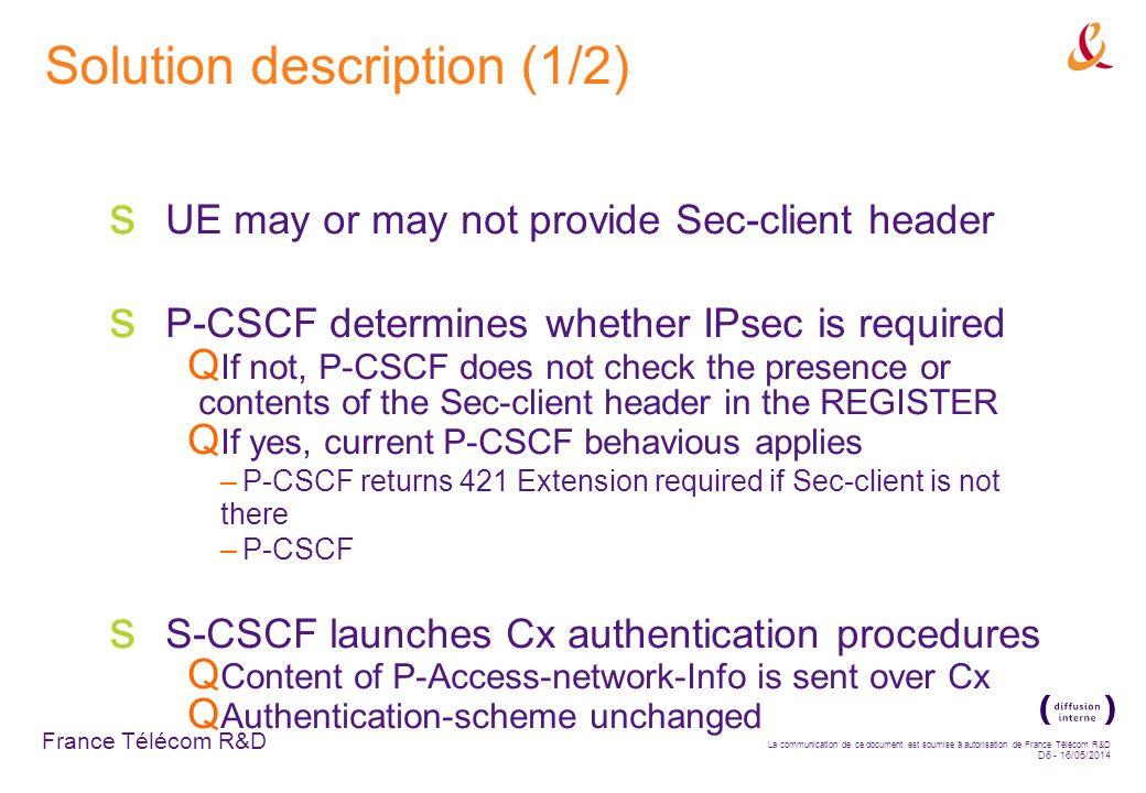 France Télécom R&D La communication de ce document est soumise à autorisation de France Télécom R&D D6 - 16/05/2014 Solution description (1/2) UE may or may not provide Sec-client header P-CSCF determines whether IPsec is required If not, P-CSCF does not check the presence or contents of the Sec-client header in the REGISTER If yes, current P-CSCF behavious applies –P-CSCF returns 421 Extension required if Sec-client is not there –P-CSCF S-CSCF launches Cx authentication procedures Content of P-Access-network-Info is sent over Cx Authentication-scheme unchanged