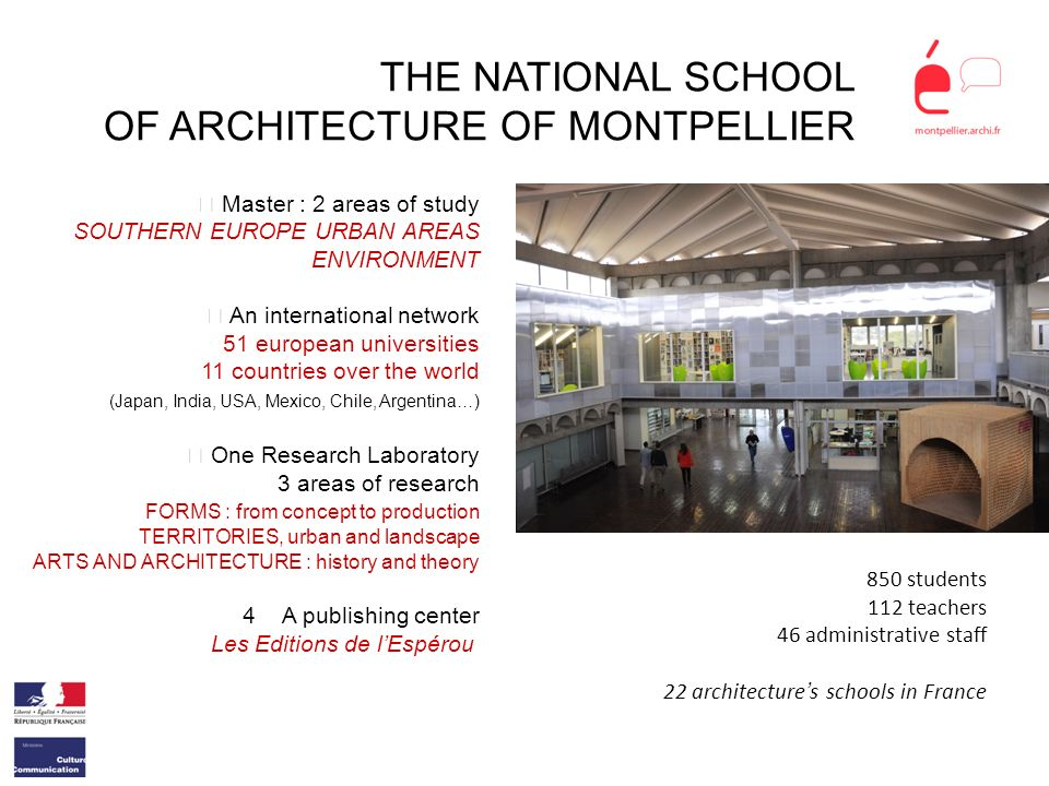 THE NATIONAL SCHOOL OF ARCHITECTURE OF MONTPELLIER Master : 2 areas of study SOUTHERN EUROPE URBAN AREAS ENVIRONMENT An international network 51 europ