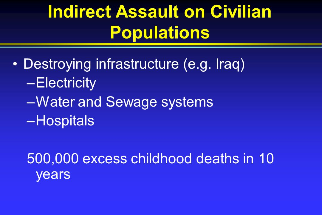 Indirect Assault on Civilian Populations Destroying infrastructure (e.g.