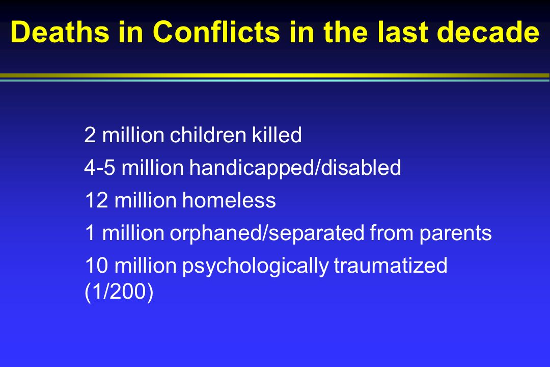 Deaths in Conflicts in the last decade 2 million children killed 4-5 million handicapped/disabled 12 million homeless 1 million orphaned/separated from parents 10 million psychologically traumatized (1/200)