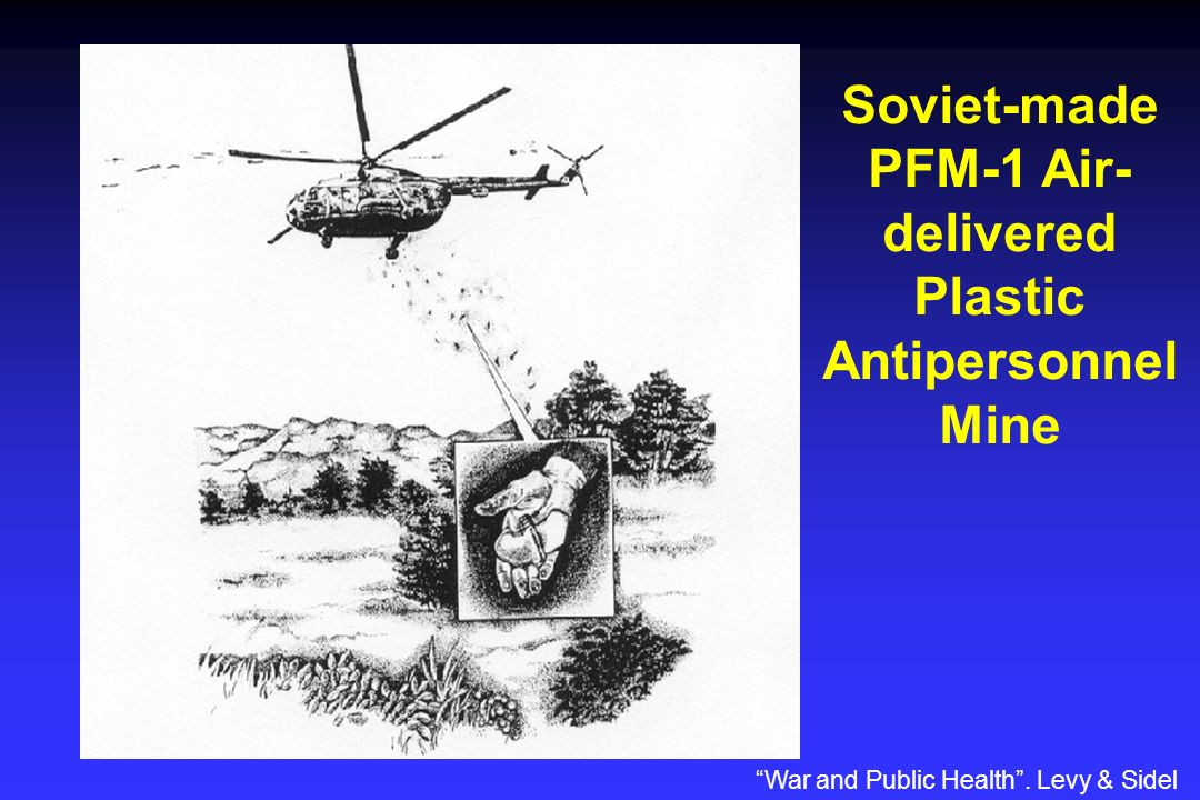 Soviet-made PFM-1 Air- delivered Plastic Antipersonnel Mine War and Public Health. Levy & Sidel