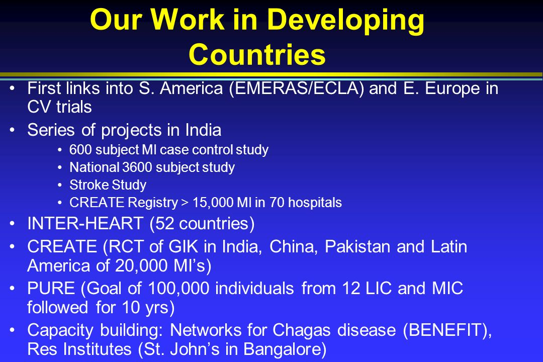 Our Work in Developing Countries First links into S.