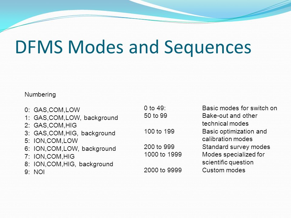 DFMS Modes and Sequences Numbering 0: GAS,COM,LOW 1: GAS,COM,LOW, background 2: GAS,COM,HIG 3: GAS,COM,HIG, background 5: ION,COM,LOW 6: ION,COM,LOW,
