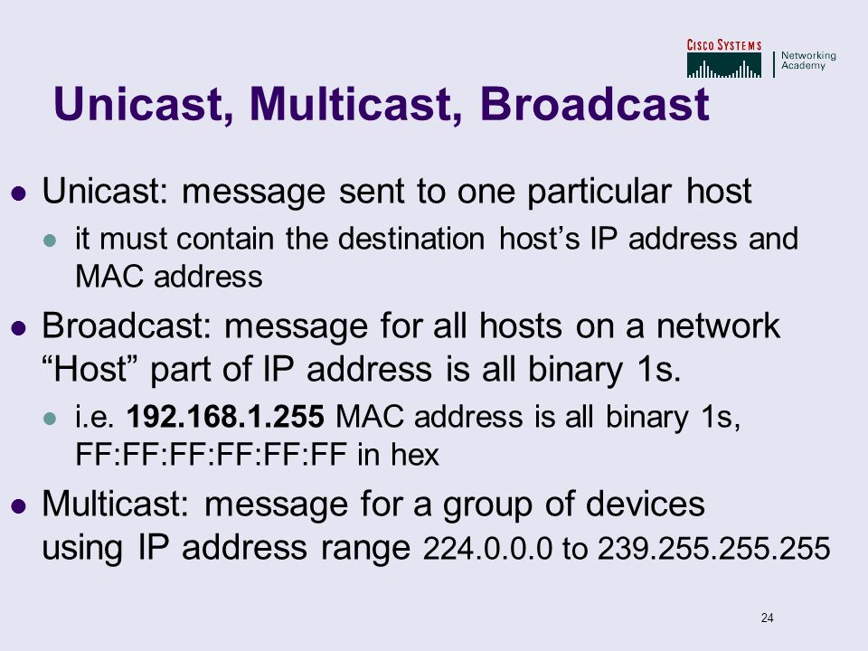24 Unicast, Multicast, Broadcast Unicast: message sent to one particular host it must contain the destination hosts IP address and MAC address Broadca