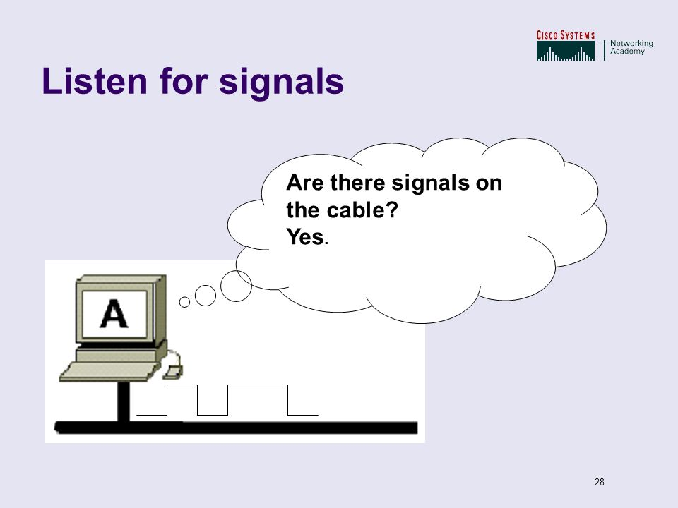 28 Listen for signals Are there signals on the cable? Yes.