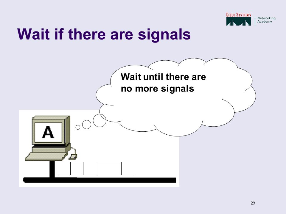 29 Wait if there are signals Wait until there are no more signals