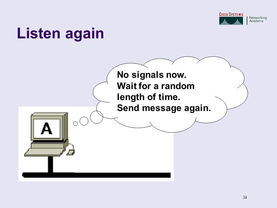 34 Listen again No signals now. Wait for a random length of time. Send message again.