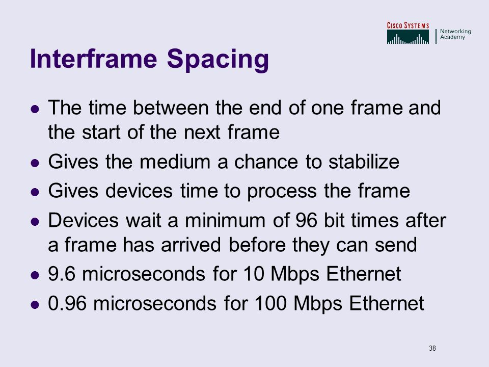 38 Interframe Spacing The time between the end of one frame and the start of the next frame Gives the medium a chance to stabilize Gives devices time