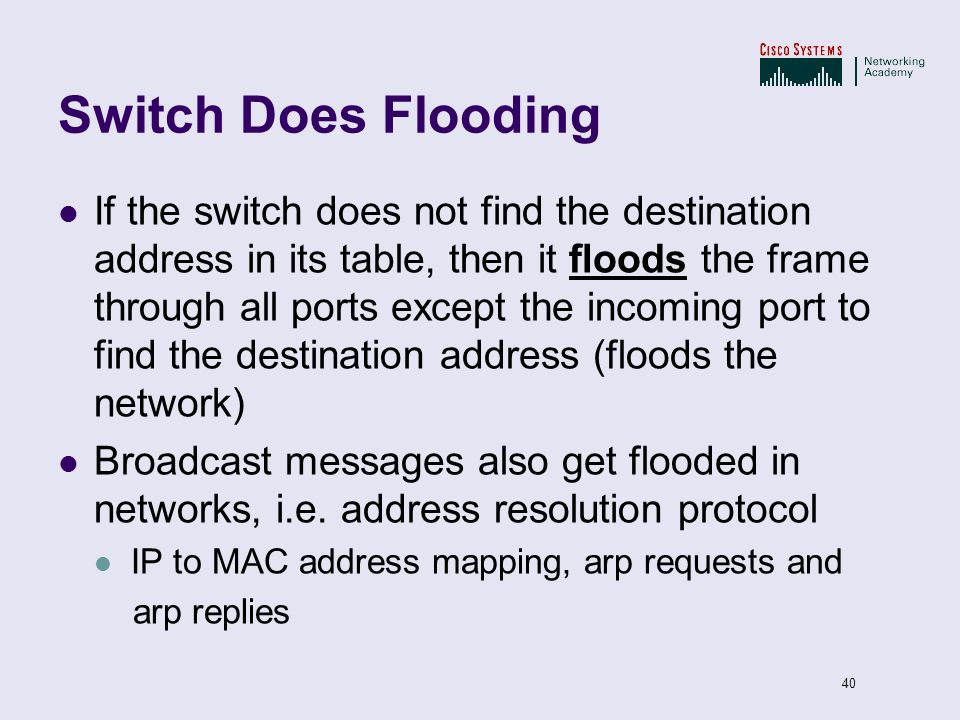 40 Switch Does Flooding If the switch does not find the destination address in its table, then it floods the frame through all ports except the incomi