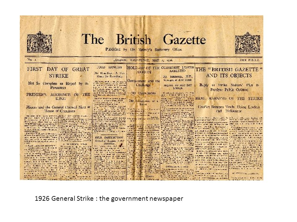 1926 General Strike : the government newspaper