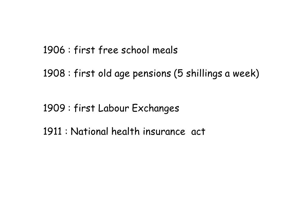 1906 : first free school meals 1908 : first old age pensions (5 shillings a week) 1909 : first Labour Exchanges 1911 : National health insurance act