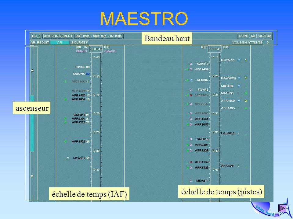 MAESTRO ascenseur échelle de temps (IAF) échelle de temps (pistes) Bandeau haut
