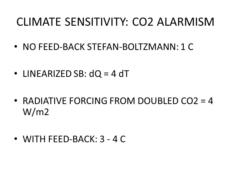 CLIMATE SENSITIVITY: CO2 ALARMISM NO FEED-BACK STEFAN-BOLTZMANN: 1 C LINEARIZED SB: dQ = 4 dT RADIATIVE FORCING FROM DOUBLED CO2 = 4 W/m2 WITH FEED-BACK: 3 - 4 C