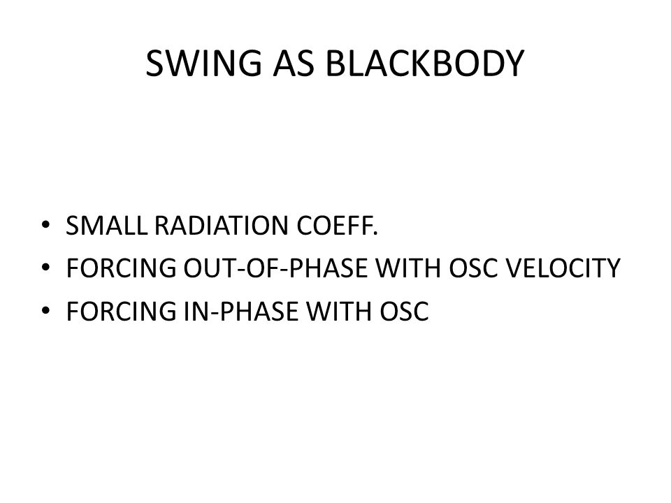 SWING AS BLACKBODY SMALL RADIATION COEFF.