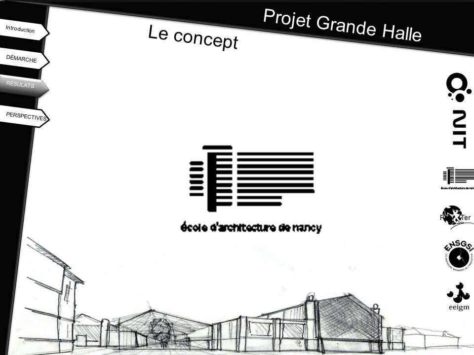 Projet Grande Halle DÉMARCHE Introduction RÉSULATS PERSPECTIVES Le concept