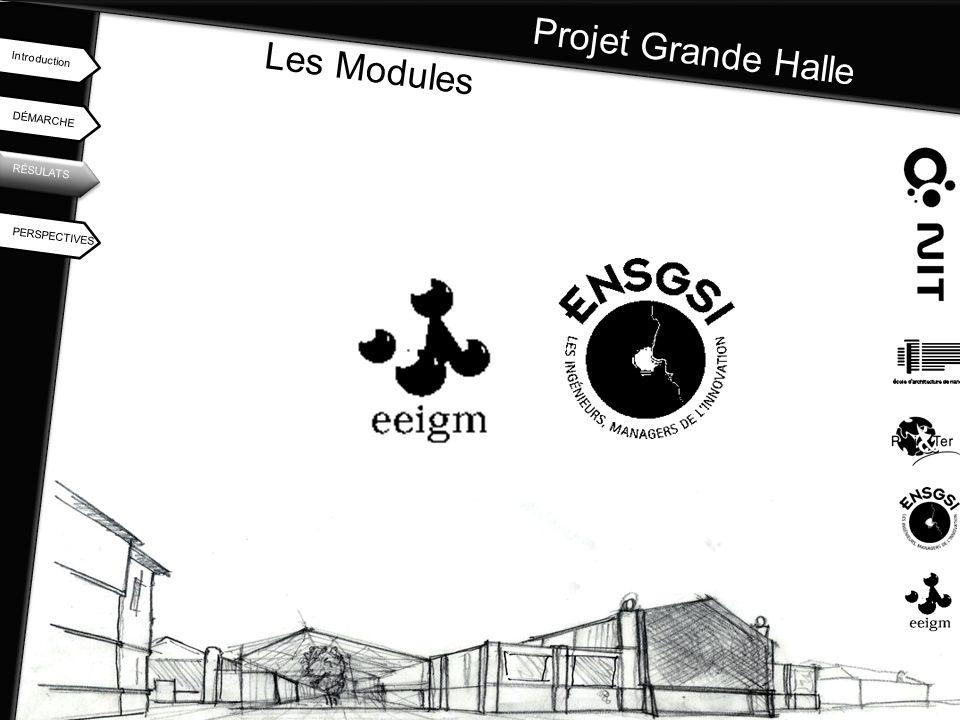 Projet Grande Halle DÉMARCHE Introduction RÉSULATS PERSPECTIVES Les Modules