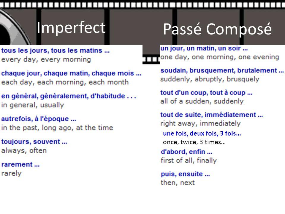 Imperfect une fois, deux fois, 3 fois… once, twice, 3 times… Passé Composé