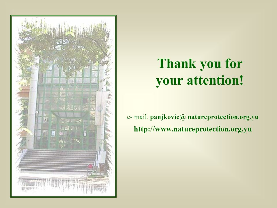 e- mail: panjkovic@ natureprotection.org.yu http://www.natureprotection.org.yu Thank you for your attention!