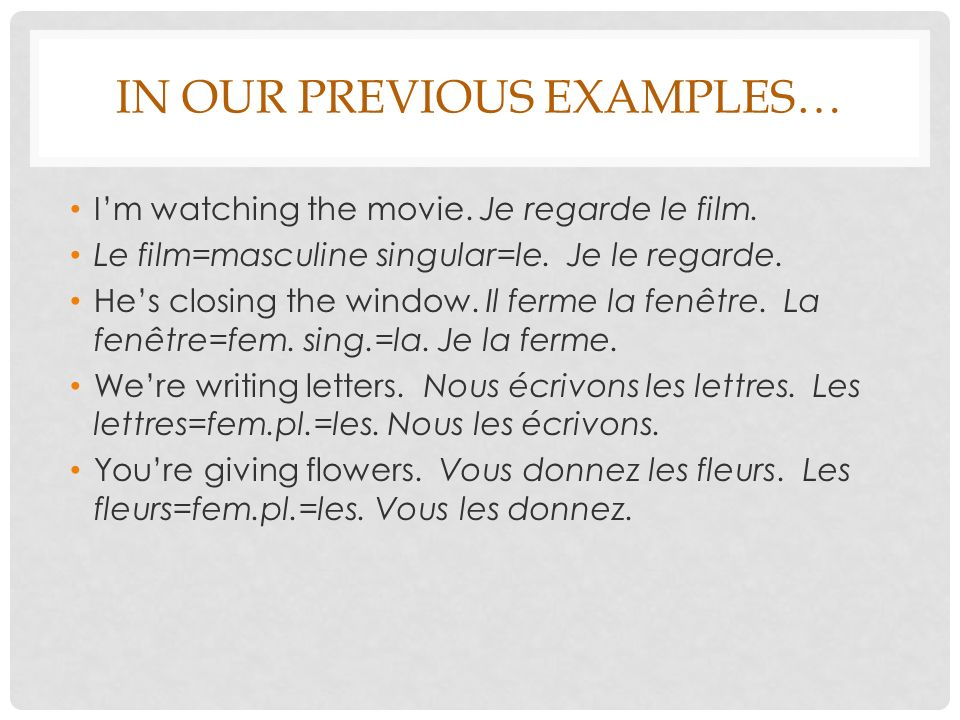 IN OUR PREVIOUS EXAMPLES… Im watching the movie.Je regarde le film.