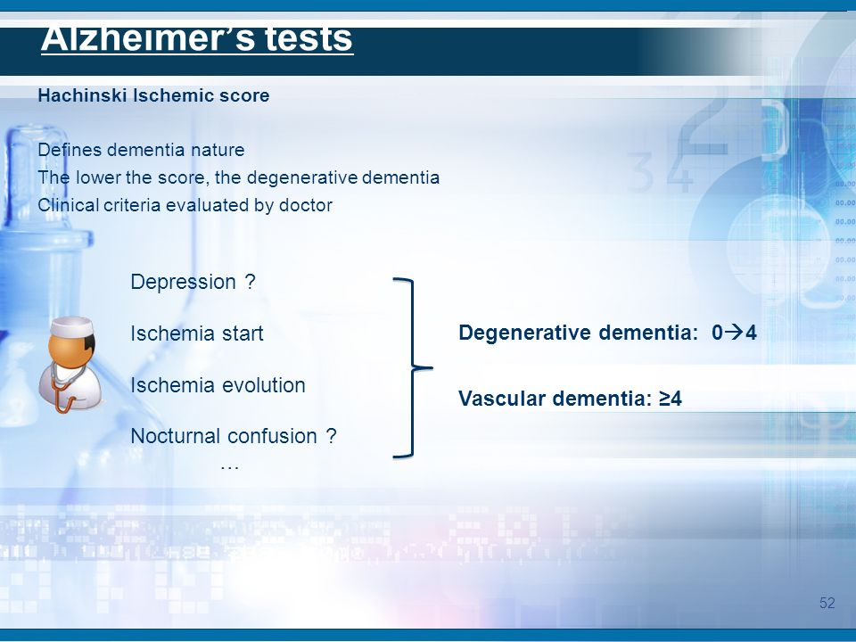 Hachinski Ischemic score Defines dementia nature The lower the score, the degenerative dementia Clinical criteria evaluated by doctor Depression ? Isc