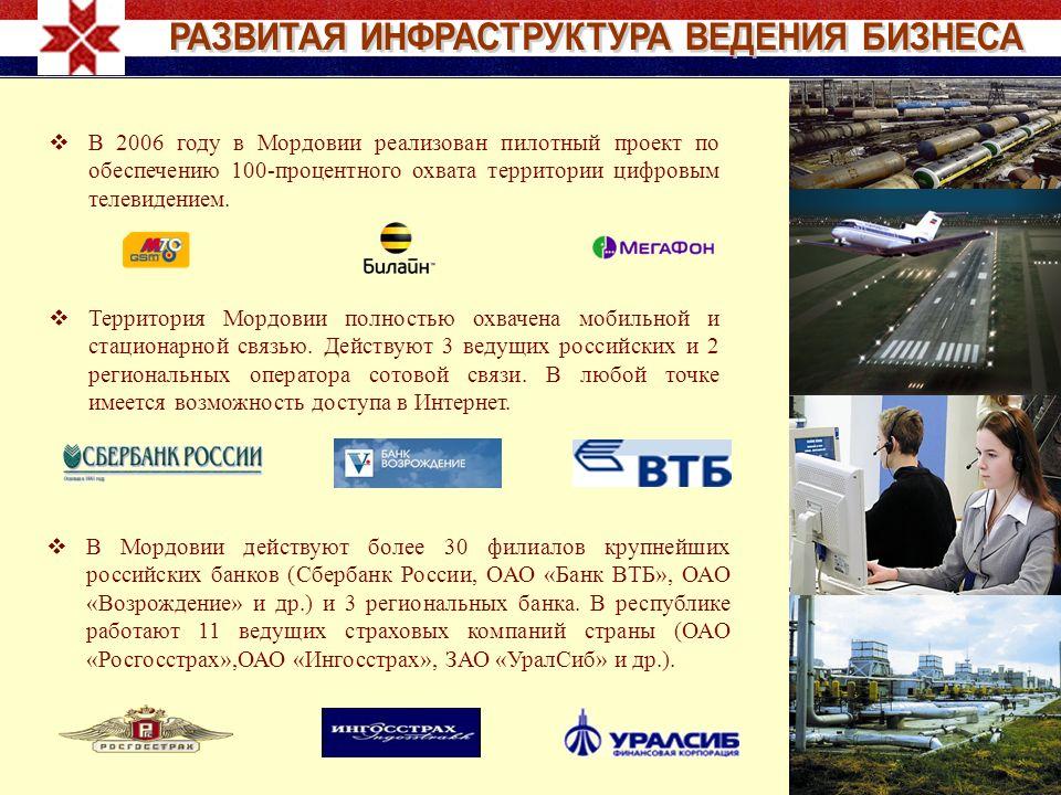 Территория Мордовии полностью охвачена мобильной и стационарной связью. Действуют 3 ведущих российских и 2 региональных оператора сотовой связи. В люб