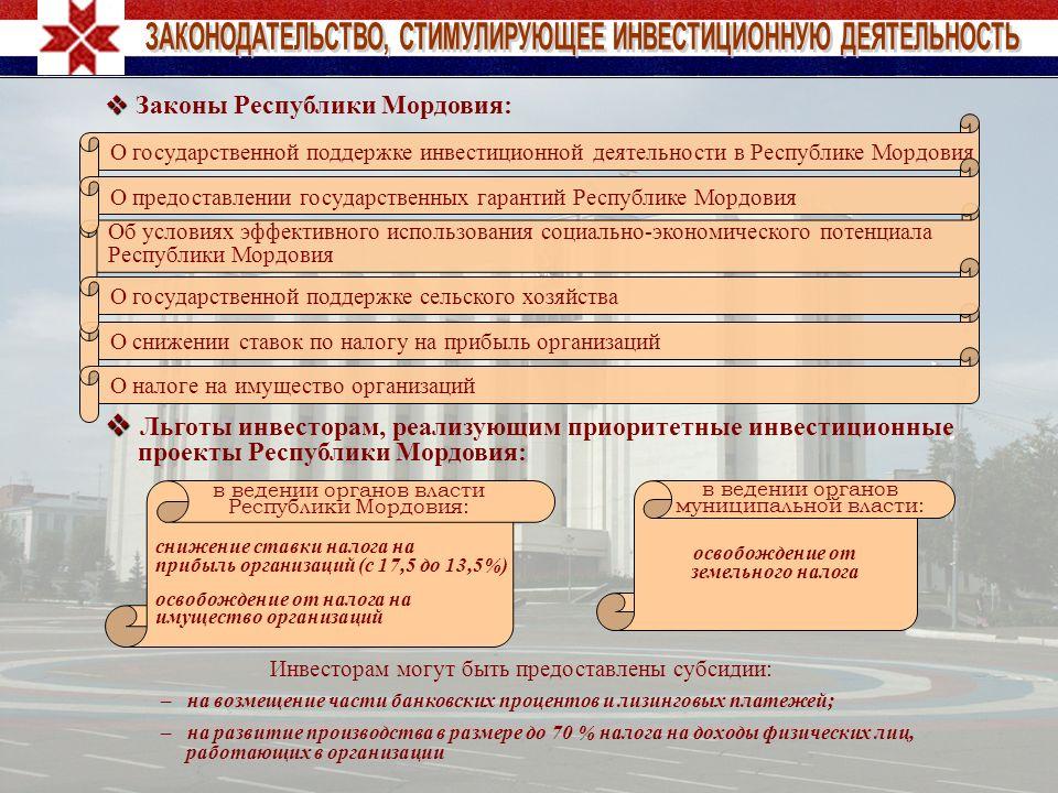 Законы Республики Мордовия: Льготы инвесторам, реализующим приоритетные инвестиционные проекты Республики Мордовия: Инвесторам могут быть предоставлен