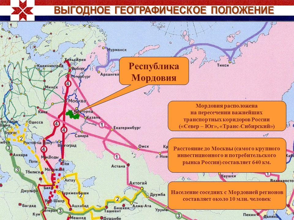 Республика Мордовия Мордовия расположена на пересечении важнейших транспортных коридоров России («Север – Юг», «Транс-Сибирский») Расстояние до Москвы