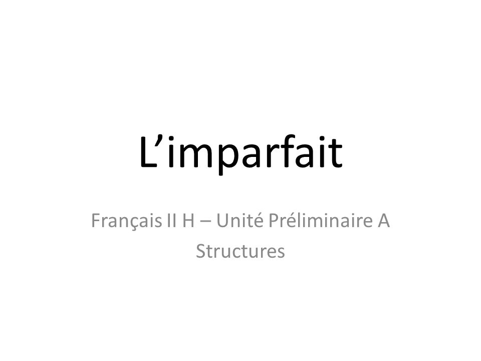 Limparfait In English, the imperfect tense refers to actions or conditions in the past that were ongoing, that occurred regularly, or that were going on when another event occurred.
