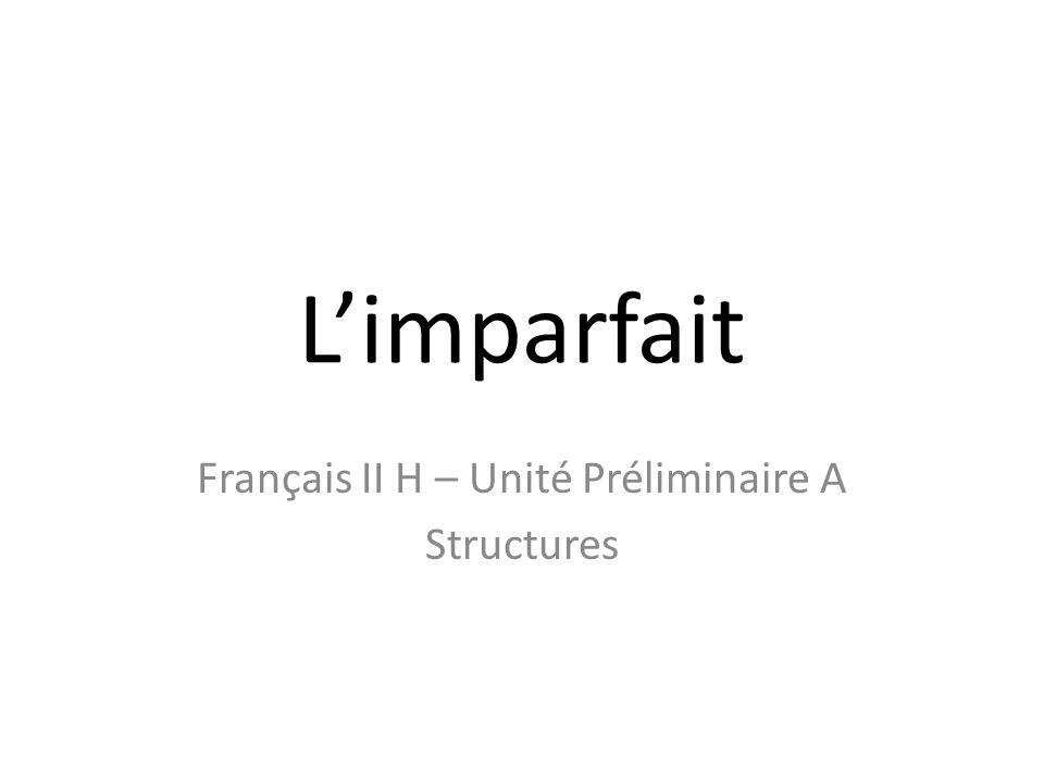 Limparfait Français II H – Unité Préliminaire A Structures