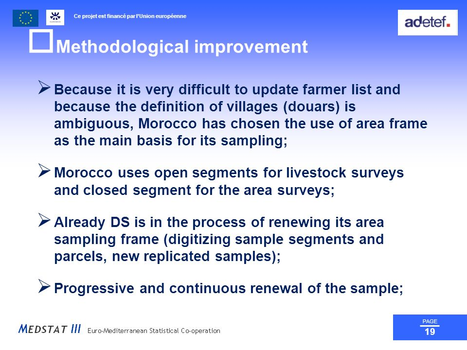 Ce projet est financé par lUnion européenne PAGE 19 Methodological improvement Because it is very difficult to update farmer list and because the definition of villages (douars) is ambiguous, Morocco has chosen the use of area frame as the main basis for its sampling; Morocco uses open segments for livestock surveys and closed segment for the area surveys; Already DS is in the process of renewing its area sampling frame (digitizing sample segments and parcels, new replicated samples); Progressive and continuous renewal of the sample;