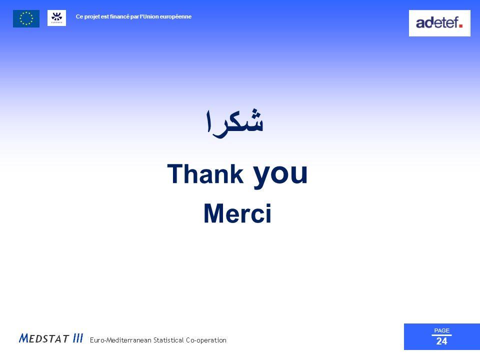 Ce projet est financé par lUnion européenne PAGE 24 شكرا Thank you Merci